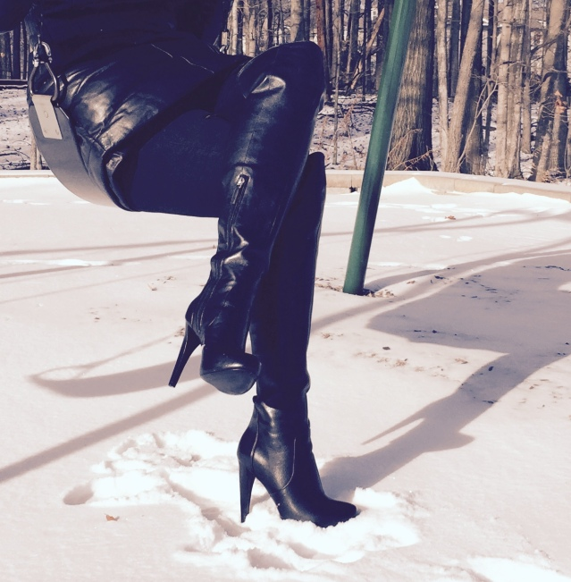 Nine West Thigh High Leather Boots